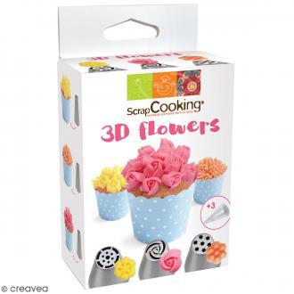 Kit 3D Flowers - Douilles et poches pâtissières - 6 pcs