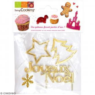 Kit Accessoires de Noël pour bûches - 4 formes dorées