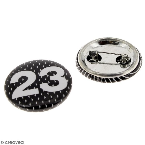 Pins badge Calendrier de l'Avent - Noir et Blanc- 2,5 cm - 24 pcs - Photo n°2