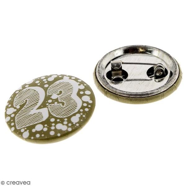 Pins badge Calendrier de l'Avent - Blanc et Doré- 2,5 cm - 24 pcs - Photo n°2