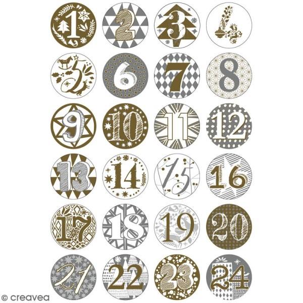 Pins badge Calendrier de l'Avent - Blanc et Doré- 2,5 cm - 24 pcs - Photo n°5