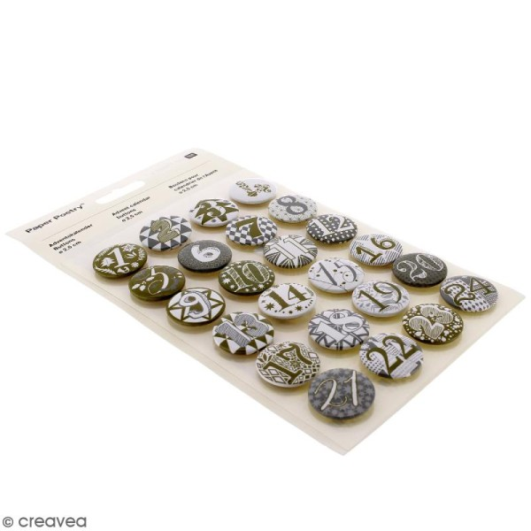 Pins badge Calendrier de l'Avent - Blanc et Doré- 2,5 cm - 24 pcs - Photo n°1