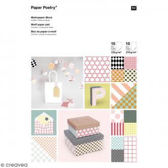 Bloc de papier scrapbooking - Graphic - 21 x 29,7 cm - 30 feuilles