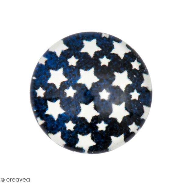 Cabochon Rond - Etoile - Bleu foncé - 12 mm - Photo n°1