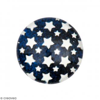 Cabochon Rond - Etoile - Bleu foncé - 12 mm