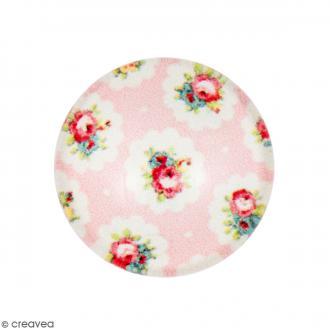 Cabochon Rond - Fleurs - Rose claire - 12 mm