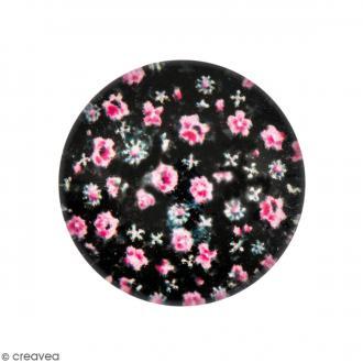 Cabochon Rond - Fleurs roses - Noir - 12 mm