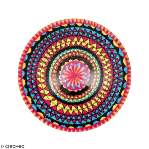 Cabochon Rond - Cercles mandalas - Multicolore - 20 mm - Photo n°1