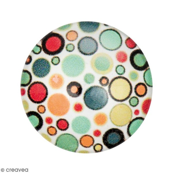 Cabochon Rond - Pois - Multicolore - 20 mm - Photo n°1
