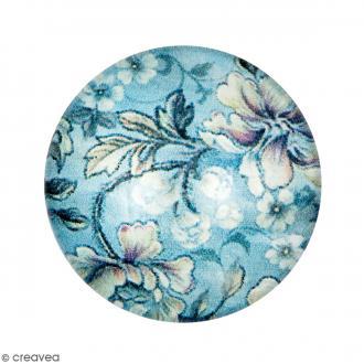 Cabochon Rond - Fleurs - Bleu - 20 mm