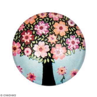Cabochon Rond - Arbre et fleurs - Multicolore - 20 mm