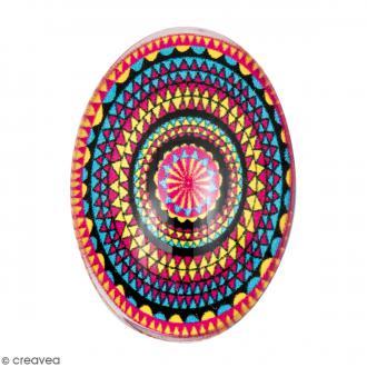Cabochon Ovale - Cercles mandalas - Multicolore - 25 x 18 mm