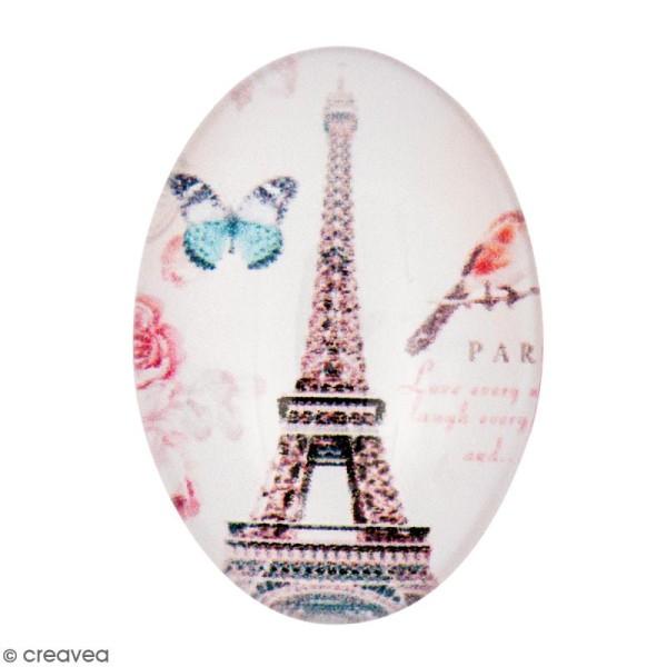 Cabochon Ovale - Tour Eiffel - Multicolore - 25 x 18 mm - Photo n°1