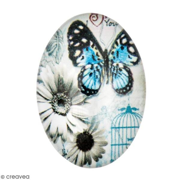 Cabochon Ovale - Papillon et fleurs - Bleu et gris - 25 x 18 mm - Photo n°1