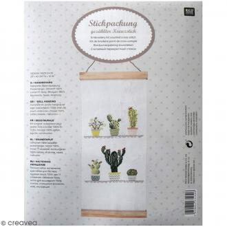 Kit de broderie avec suspension - Cactus - 20 x 40 cm
