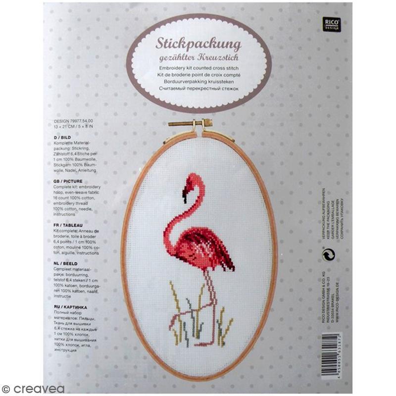 kit de broderie avec cadre tambour flamant rose 13 x 21 cm kit point de croix creavea. Black Bedroom Furniture Sets. Home Design Ideas