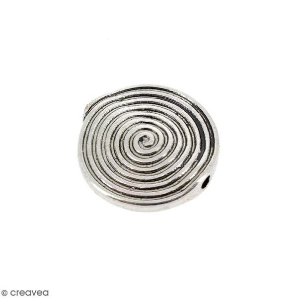 Perle plate en métal - 17 mm - Photo n°1