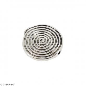 Perle plate en métal - 17 mm