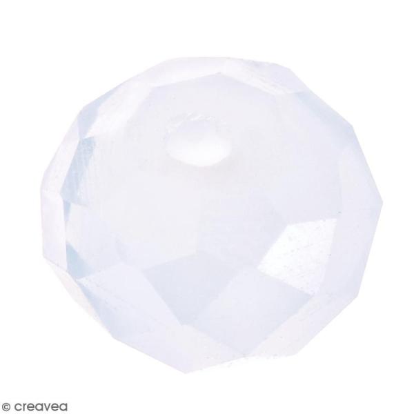 Perle Blanche effet verre à facettes - 8 mm - Photo n°1