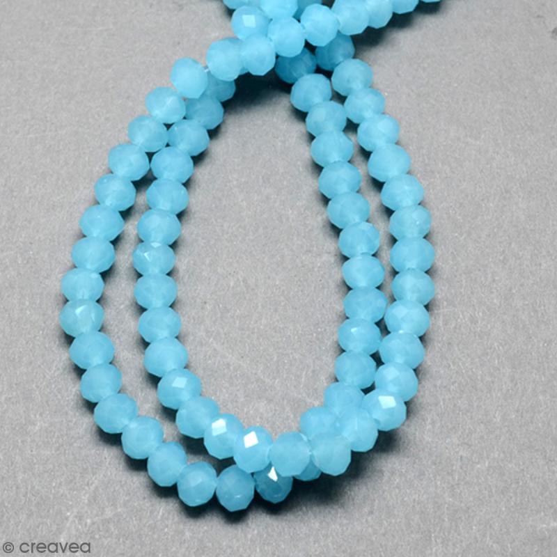 Perle Bleue turquoise effet verre à facettes - 8 mm - Photo n°2
