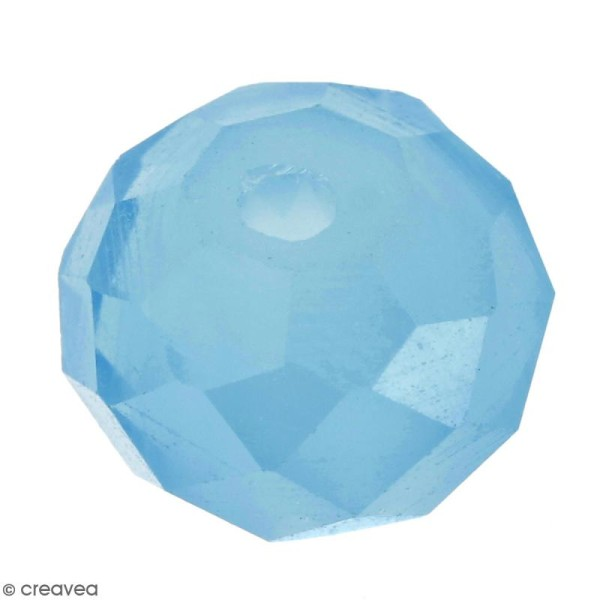 Perle Bleue turquoise effet verre à facettes - 8 mm - Photo n°1