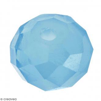 Perle Bleue turquoise effet verre à facettes - 8 mm