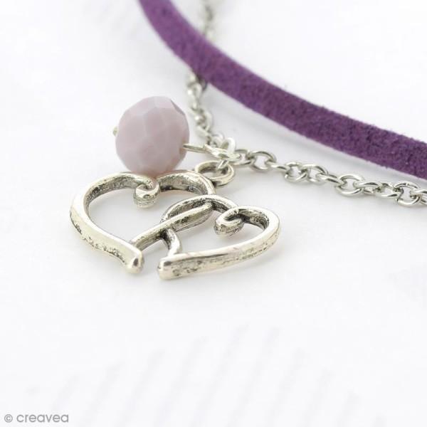 Perle Violet clair opaque à facettes - 8 mm - Photo n°4