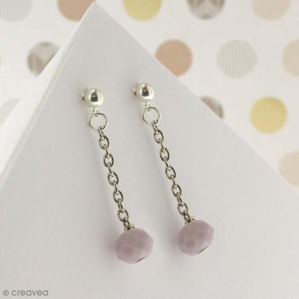 Perle Violet clair opaque à facettes - 8 mm - Photo n°5