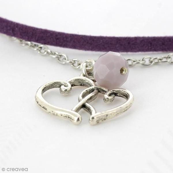 Perle Violet clair opaque à facettes - 8 mm - Photo n°6