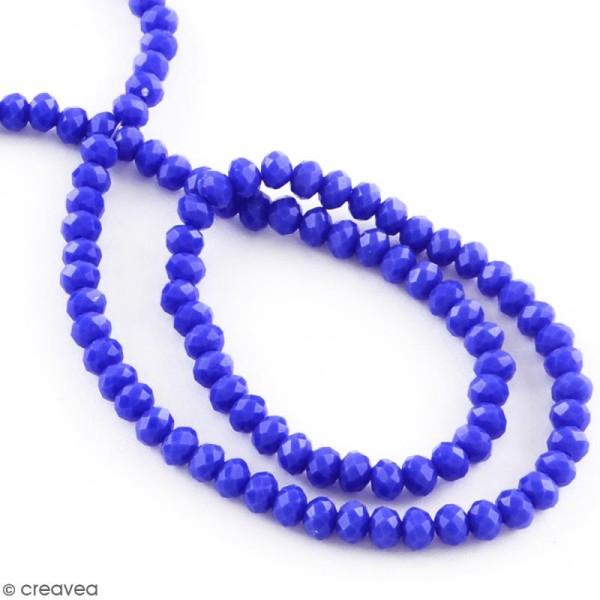 Perle Bleu roi opaque à facettes - 8 mm - Photo n°2