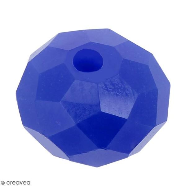 Perle Bleu roi opaque à facettes - 8 mm - Photo n°1