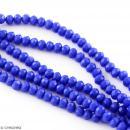Perle Bleu roi opaque à facettes - 8 mm - Photo n°3