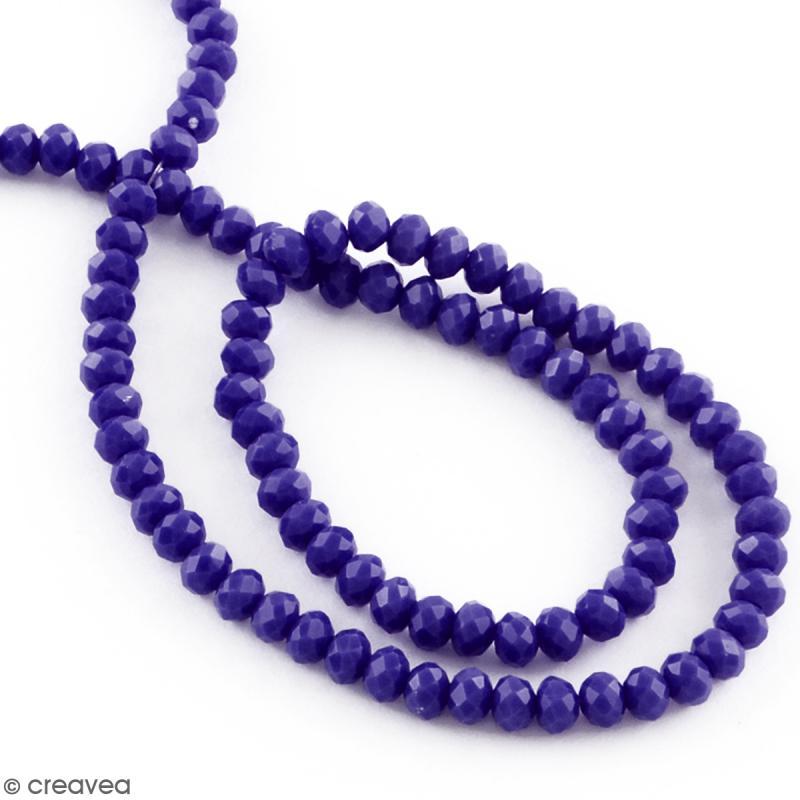 Perle Bleu indigo opaque à facettes - 8 mm - Photo n°2
