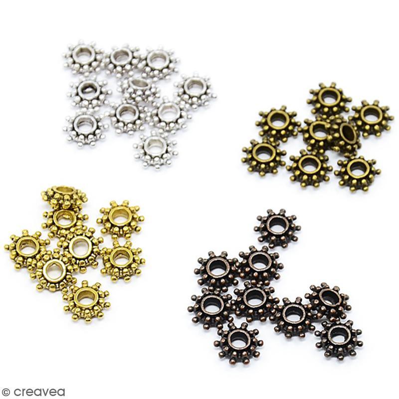 Assortiment de perles en métal 8 mm - 220 pcs environ - Photo n°2