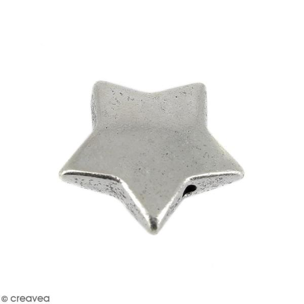 Perle plate Etoile en métal - 15 mm - Photo n°1