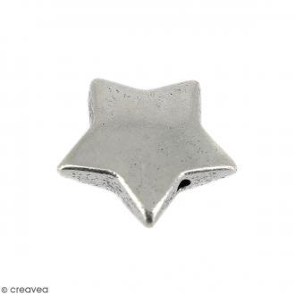 Perle plate Etoile en métal - 15 mm