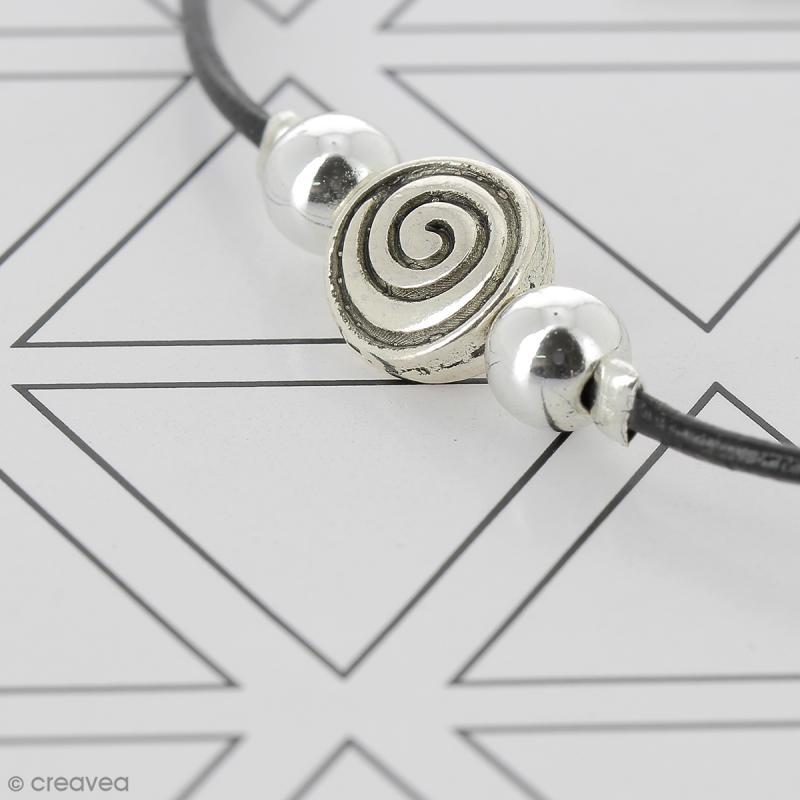 Perle grise argentée en métal - 6 mm - Photo n°2