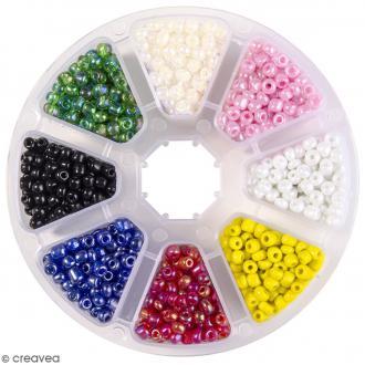 Perles de rocaille en verre 4 mm - Assortiment Multicolore - 1400 pcs environ