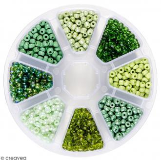Perles de rocaille en verre 4 mm - Assortiment Camaïeu Vert - 1400 pcs environ