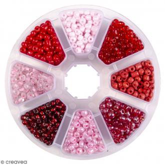 Perles de rocaille en verre 4 mm - Assortiment Camaïeu Rouge - 1400 pcs environ