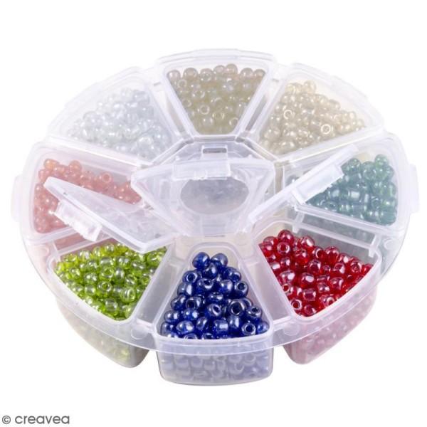 Perles de rocaille en verre 4 mm - Assortiment multicolore transparent - 1400 pcs environ - Photo n°2