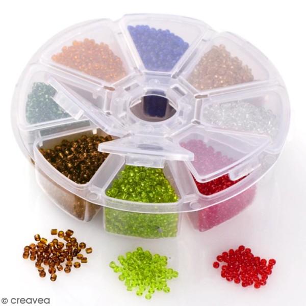 Perles de rocaille en verre 4 mm - Assortiment multicolore transparent - 1400 pcs environ - Photo n°3