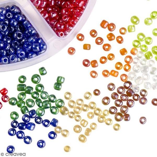 Perles de rocaille en verre 4 mm - Assortiment multicolore transparent - 1400 pcs environ - Photo n°4