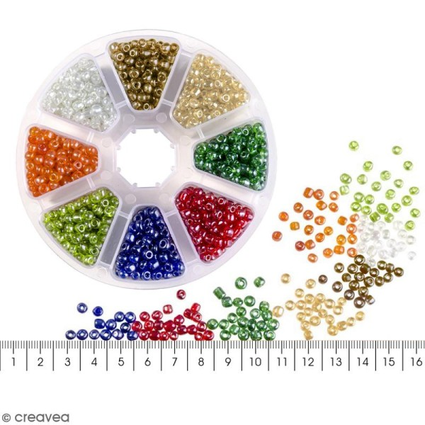 Perles de rocaille en verre 4 mm - Assortiment multicolore transparent - 1400 pcs environ - Photo n°5
