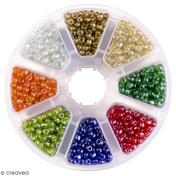 Perles de rocaille en verre 4 mm - Assortiment multicolore transparent - 1400 pcs environ - Photo n°1