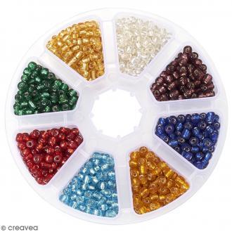 Perles de rocaille en verre 4 mm avec trou argenté - Assortiment Multicolore - 1400 pcs environ