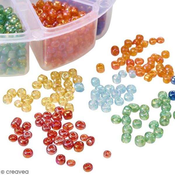 Perles de rocaille en verre 4 mm - Assortiment transparent Arc-en-ciel - 1400 pcs environ - Photo n°4