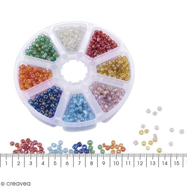 Perles de rocaille en verre 4 mm - Assortiment transparent Arc-en-ciel - 1400 pcs environ - Photo n°5