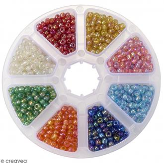 Perles de rocaille en verre 4 mm - Assortiment transparent Arc-en-ciel - 1400 pcs environ