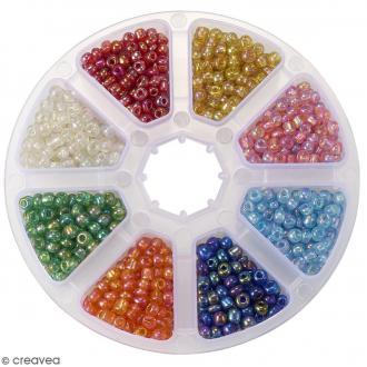 Perles de rocaille en verre 4 mm - Assortiment transparent Arc-en-ciel - 1400 pcs environ
